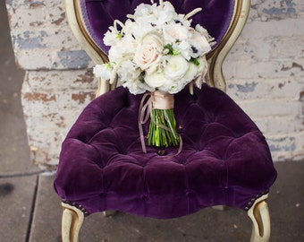 Purple velvet French chair