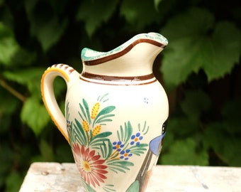 Henriot Quimper Pitcher Made in France Hand Painted from the 50' - Vintage Quimper - Retro pitcher - Made in France