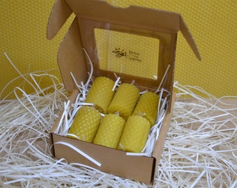 6 Pure Beeswax Candles from Beeswax Sheets (5 cm x 3 cm)