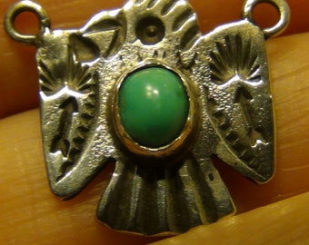 Old Silver Thunderbird and Turquoise Pendant