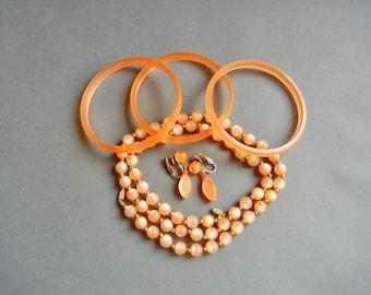 Vintage moonglow orange set, moonglow orange set, moonglow set, moonglow necklace set, moonglow bracelet set, moonglow earrings, moonglow