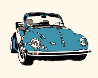 VW Beetle Convertible Greeting Card