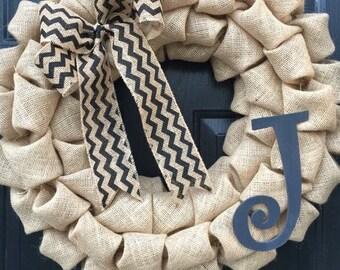 J Personalized Initial Burlap Wreath