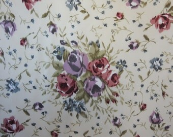 Vintage 80s Laura Ashley Silk Scarf Needlepoint Floral Design Muted Pinks and Blues  on Ivory Silk Twill  Traditional Classic Demure