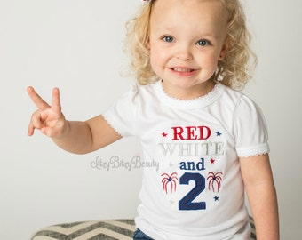 Red white and 2 two blue embroidered girls second birthday Fourth of July shirt fireworks stars