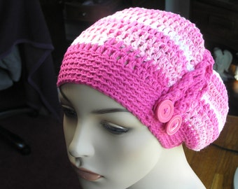 CROCHETED CHEMO HAT - Spring Summer 100% Cotton - Strawberry Stripes/Bright Pink - Slightly Slouchy Beanie