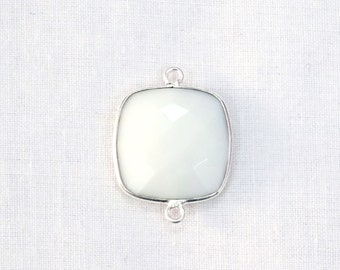 Sale 45% Off White Agate Chalcedony Cushion Shape 17 mm Double Bail Gemstone Bezel Connector 925 Silver Plated 1pc.