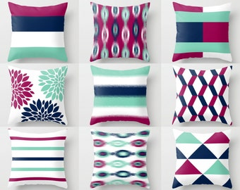 Throw Pillow Covers . Spring Pillow Covers, Lucite Green Navy White Fuchsia, Home Decor, Toss Pillow Covers, Decorative Pillow Covers