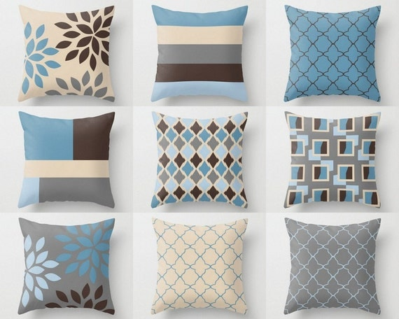 Light Blue And Brown Decorative Pillows : Throw Pillow Covers Accent Pillow Cover Decorative Pillow