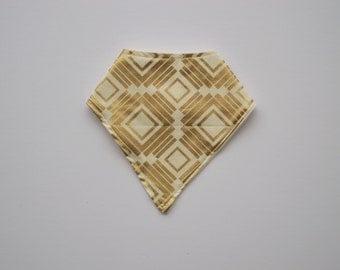 bandana bib - cream and gold squares