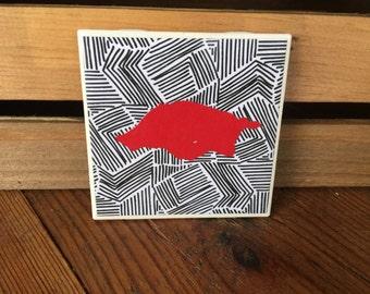 Razorback Coasters, Razorback Drinkware, Red Razorback Coasters, Set of 4 Coasters