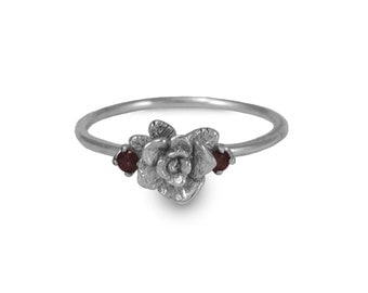 Rose Ring, Mini Rose Ring with Cubic Zirconia, Handmade, Sterling Silver Ring, Engagement Ring