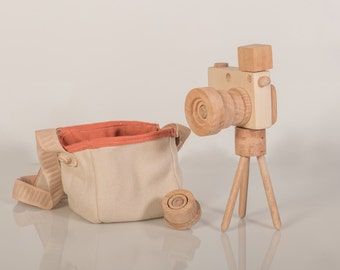Set of 2 Eco Wooden Toy Cameras Handmade Play by beigebois