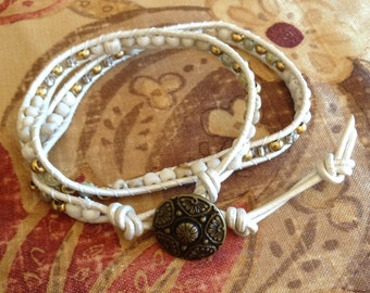 White Leather 2 X Wrap Bracelet