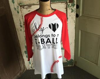 Baseball Softball Henley - My Heart Belongs to a TBall Player - TBall Mom Shirt - Baseball Mom Shirt - baseball mom