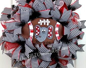 Alabama Elephant Wreath, Alabama Wreath, Crimson Tide Wreath, Sports Wreath, Football Wreath