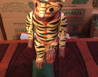 Vintage Wood Tiger Indonesian