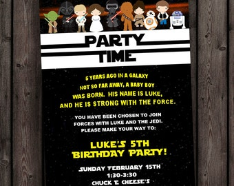 star wars invitation, the force awakens invitation, star wars birthday invitation, star wars party invitation, new star wars characters