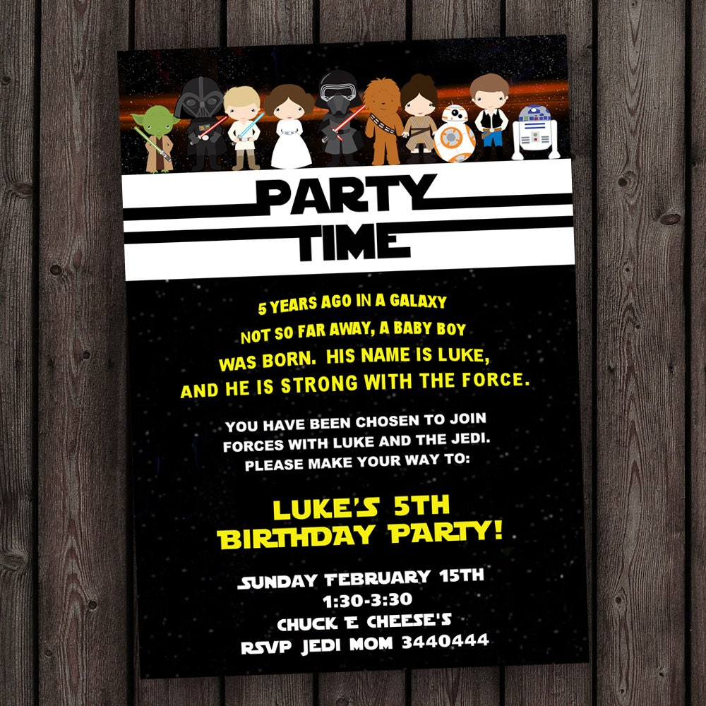 star wars invitation, the force awakens invitation, star wars, Party invitations