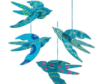 Turquoise Blue Origami Paper Bird Ornaments