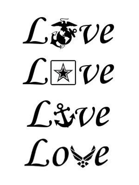 Military Love Decal, Cup decal, tumbler decal, yeti decal, ozark trail decal,  army decal, airforce decal, navy decal, marine decal, decal