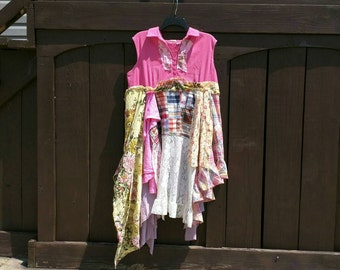 Pink Sunshine Shabby Funky tattered pixie upcycled patchwork floral rustic Boho altered artsy dress top tunic artsy lagenlook XL