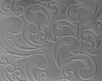 "Patterned Sterling Silver Sheet ""Nouveau"" 2"" x 6"" (choose 18 thru 24ga)  (SSP34XX)"