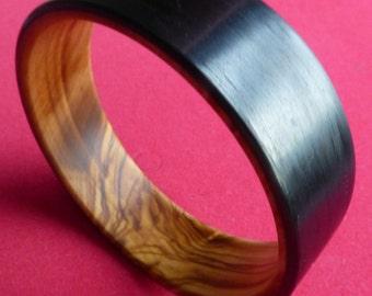 Olive wood and matte carbon fiber bangle