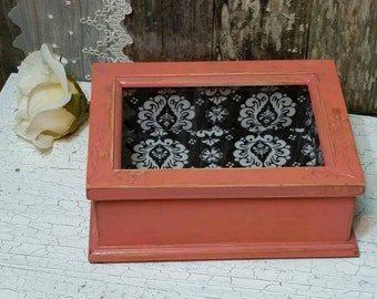 Jewelry Box, Shabby Chic Jewelry Box, Coral Jewelry Box, Vintage Jewelry Box, Coral, RobinsStudio, Shabby Chic, Country Box, Vintage, Rustic