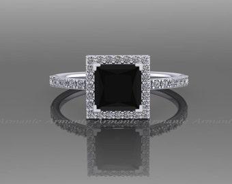 Black Diamond 1.60 carat Princess Cut Engagement Ring, 14K White Gold Natural White and Black Diamond Halo Ring, Wedding Ring RE57.6BK
