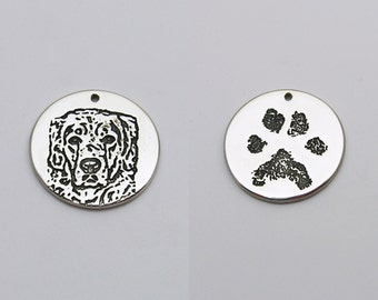 Double Sided Charm with Photo and Paw Print, Dog Charm, Cat Charm, Paw Print Charm, Pet Photo Jewelry, Personalized Pet Memorial Jewelry