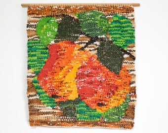 Vintage Mid Century Modern Swedish Handwoven Fiber Art Rag Rug Wall Hanging Wall Tapestry Scandinavian Textile Art Apples Orange Red Green