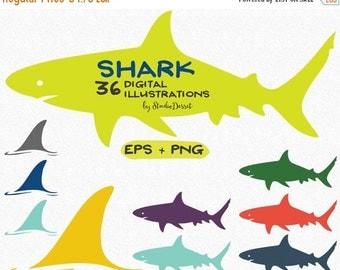 30% OFF SALE Shark Cliparts, Shark Fin Clip Art, Shark day Illustrations, Digital Summer Cliparts, Shark Graphics, Sea, Ocean, Sea Animals V