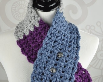 Crochet Scarf - Neckwarmer -Blue, Grey, and Wine