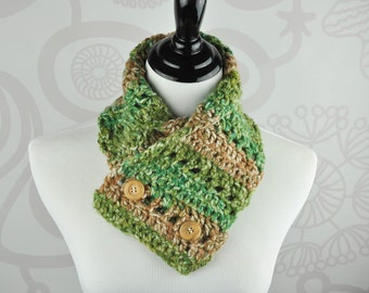 Scarf - Green and Brown - Neckwarmer - Crochet