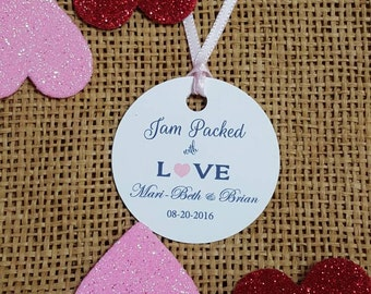 Personalized 2'' Favor Tags ,  Wedding tags, Thank You tags, Favor tags, jam packed, Bridal Shower Favor Tags, spread the love