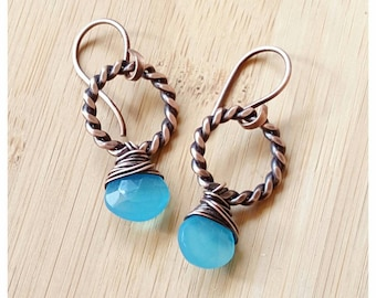 Small aqua blue chalcedony earrings wire wrapped in copper/ aqua chalcedony briolette earring/blue gemstone earring wire jewelry handmade