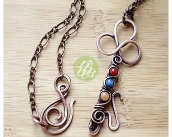 Copper birthstone pendant necklace/birthstone necklace/copper key pendant necklace/wire wrapped key necklace/gemstone necklace copper wire