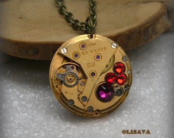 Gold Watch movement  Steampunk   Pendant with  Swarovski Crystal  ,  Steampunk Jewelry , Steampunk Jewelry