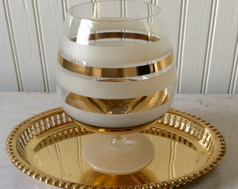 Vintage Large White & Gold Striped Goblet, Frosted, Mid Century, Barware , Mad Men, Hollywood Regency, Glam