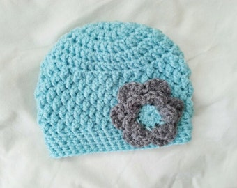 Crochet baby hat, baby girl hat, teal hospital hat, baby hat with flower, gray flower hat, 0-3 month baby gift, newborn photo prop, shower