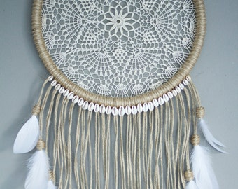White Feather Dreamcatcher with cowrie shells