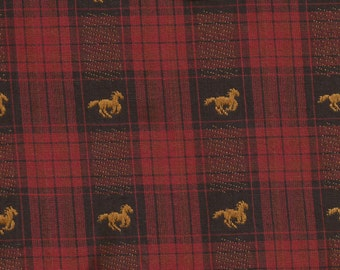 Novel Black and Red Plaid Woven Horse Fabric / 1 yard
