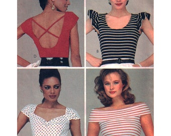 McCalls Sewing Pattern 8586 Misses' Tops - for stretch knits  Size:  10-12  Uncut