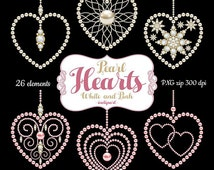 Pearl Heart clipart. Wedding, Valentine's decoration clip art 20 sparkle pearl & diamond hearts. Digital download PNG. Business use.