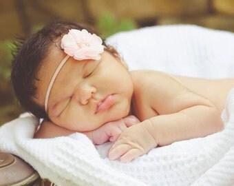 Blush Pink Headband, Chiffon Headband, Blush PinkSkinny Headband, Pink Headband, Toddler Headband, Baby  Headband, Girls Headband