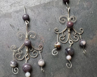 Sterling Silver Filigree Earrings with Botswana Agate and Terra Rosa Jasper Beads