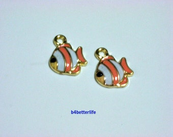 "Lot of 24pcs ""Fish"" Gold Color Plated Enameled Metal Charms. #HY2997."