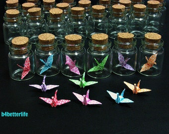 Lot Of 36pcs 1-inch Hand-folded Paper Crane In Clear Glass Mini Bottle With Cork. (MD paper series). #CIB36.