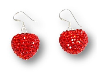 Red Crystal Heart Earrings, Red Crystal Drop Earrings, Sparkly Red Earrings, Red Dangle Earrings
